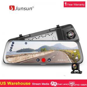 10'' Junsun Twin Lens FHD 1080P Sprint Cam Automotive DVR Rearview Mirror Backup Digicam